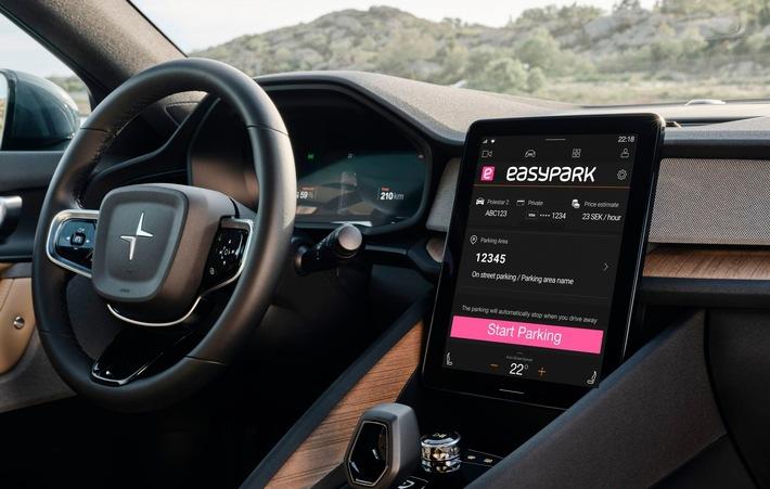 EasyPark im Polestar 2: Integrierte App automatisiert den Parkvorgang