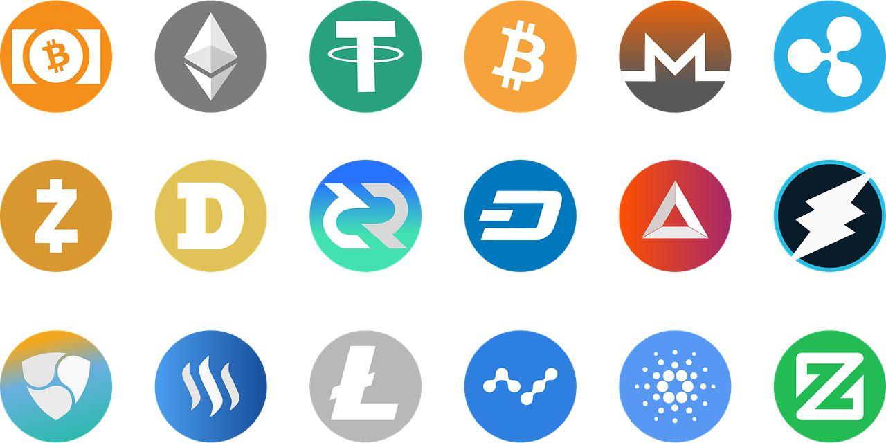 Symbols verschiedener populärer Kryptowährungen