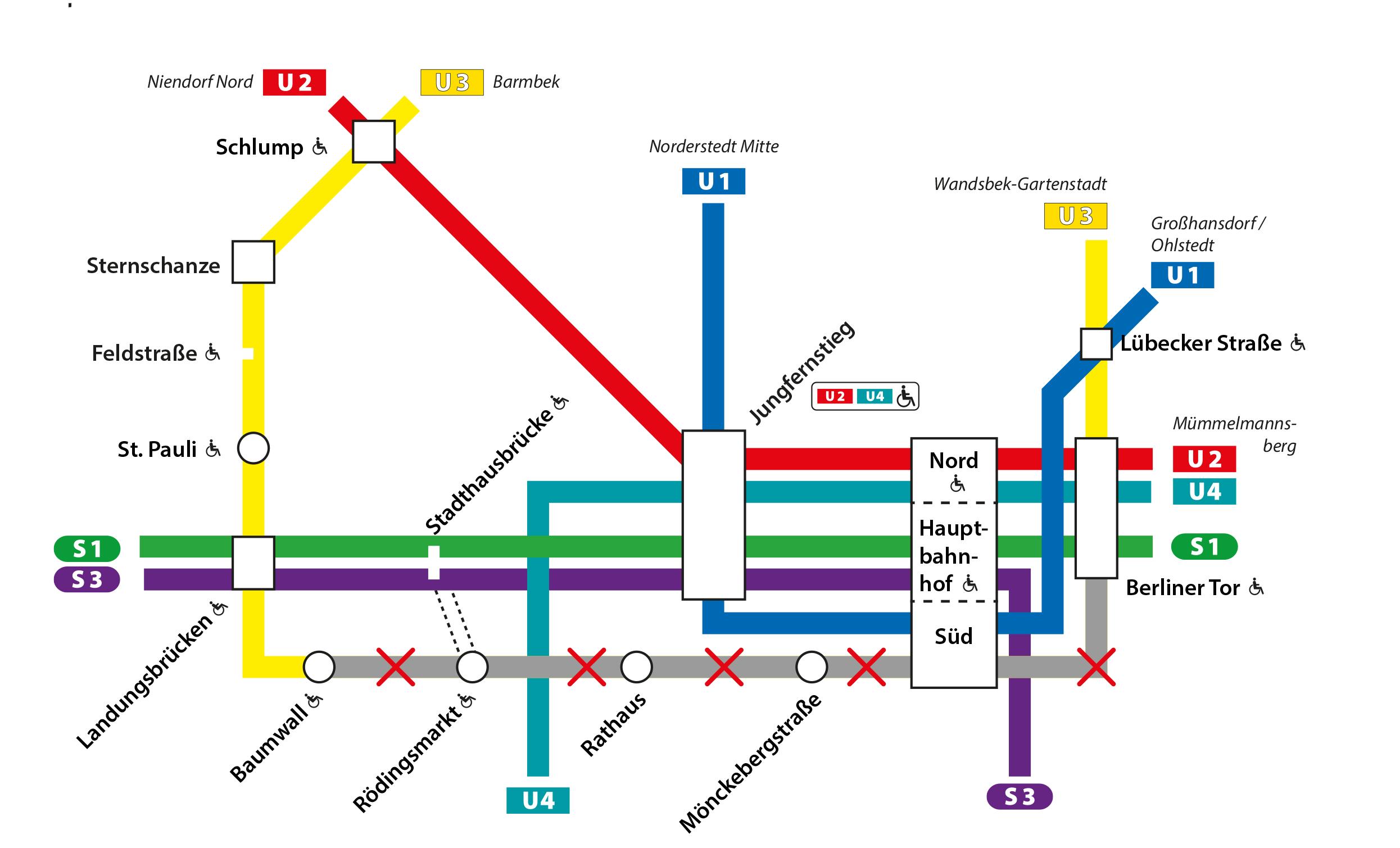 U3-Sperrung zwischen Baumwall und Berliner Tor