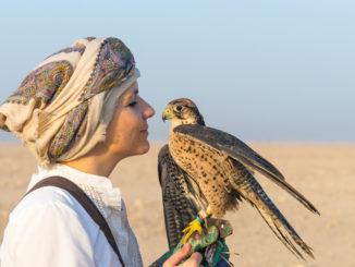 Laura Wrede mit einem Falken in der Wüste Katars