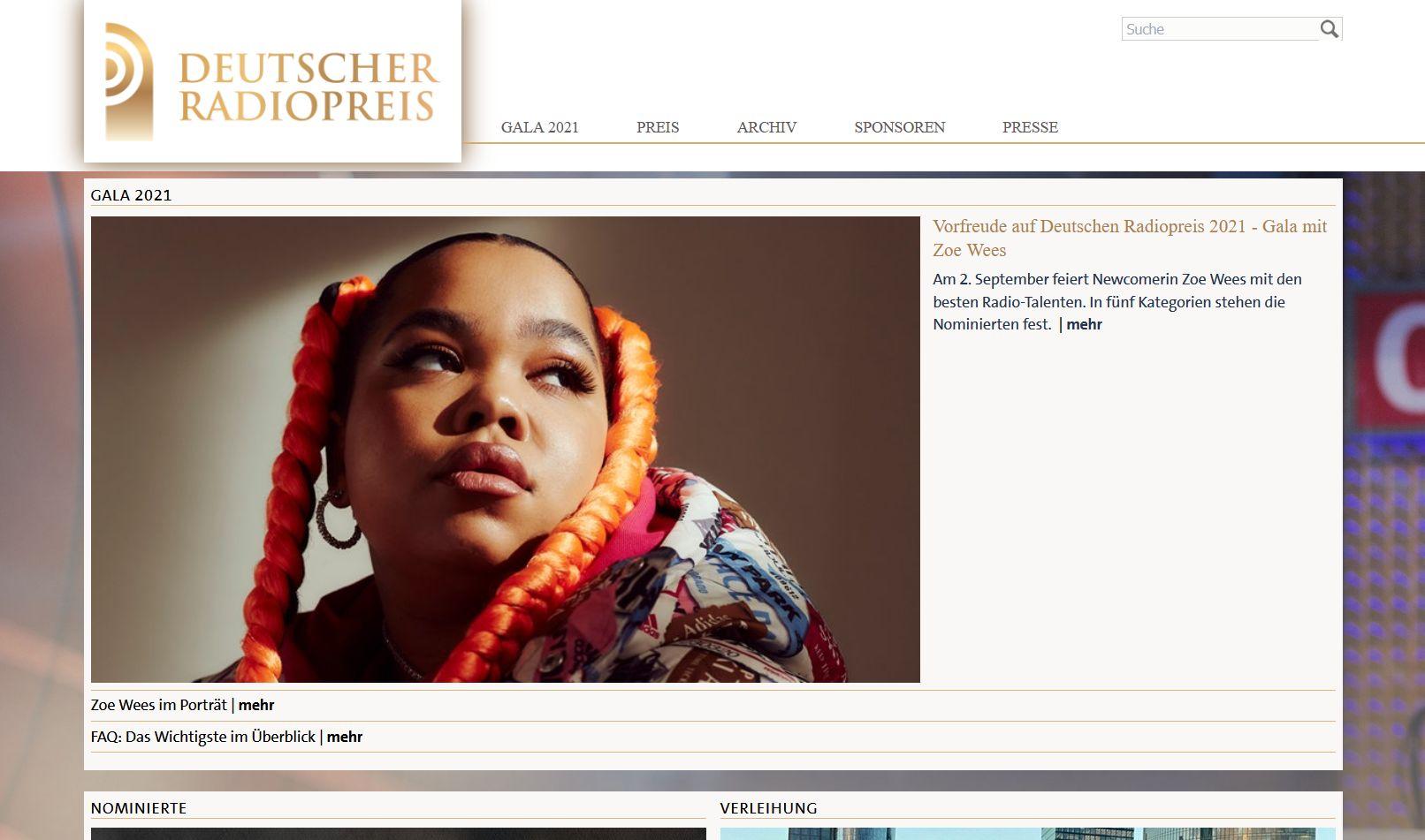 Screenshot Website Deutscher Radiopreis