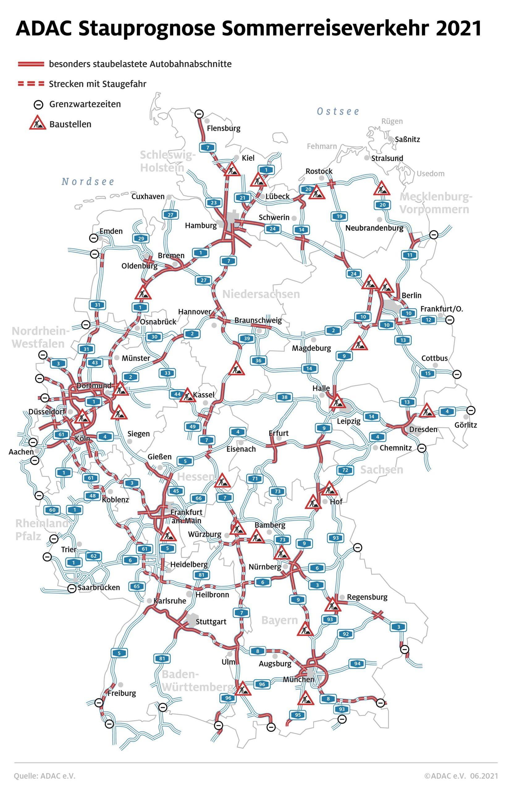 Autobahnen mit Sommerstau